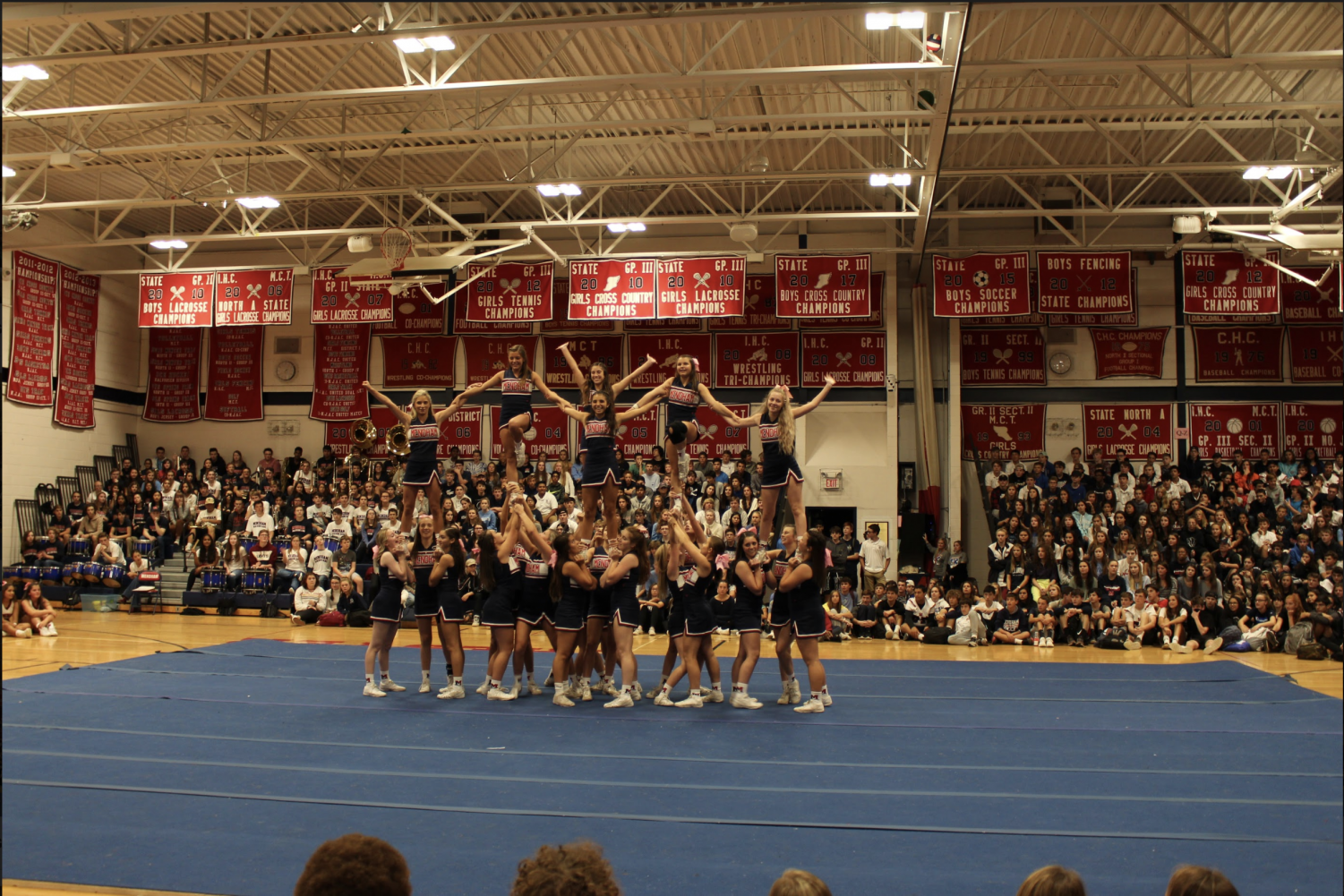 The+cheerleaders+performing+at+the+pep-rally.