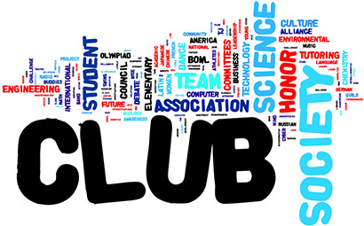 Picture of the word and words associated with school clubs. Image from Howler.