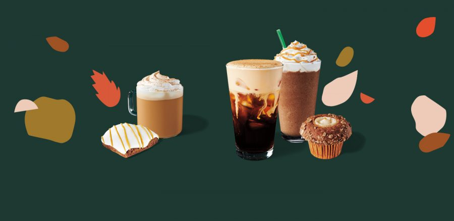 Starbucks's Fall Drink Lineup. Left: Pumpkin Spice Latte, center: Pumpkin Spice Cold Brew, right: Salted Caramel Mocha Frappuccino. Image via Starbucks Series.