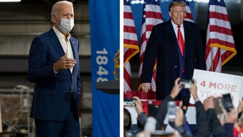 Trump and Biden at some of their recent rallies. Image via Milwaukee Journal Sentinel