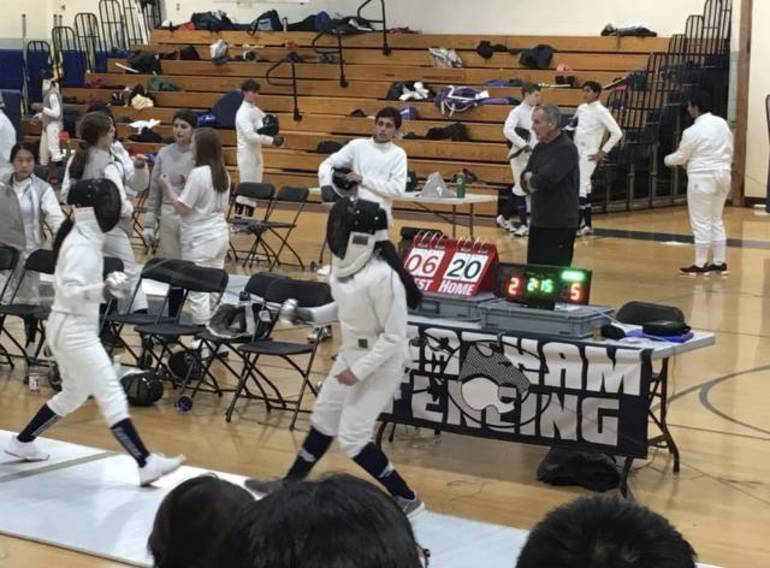 Mendham Fencing team last season in a match against Chatham. Image via Tap Into Chatham.
