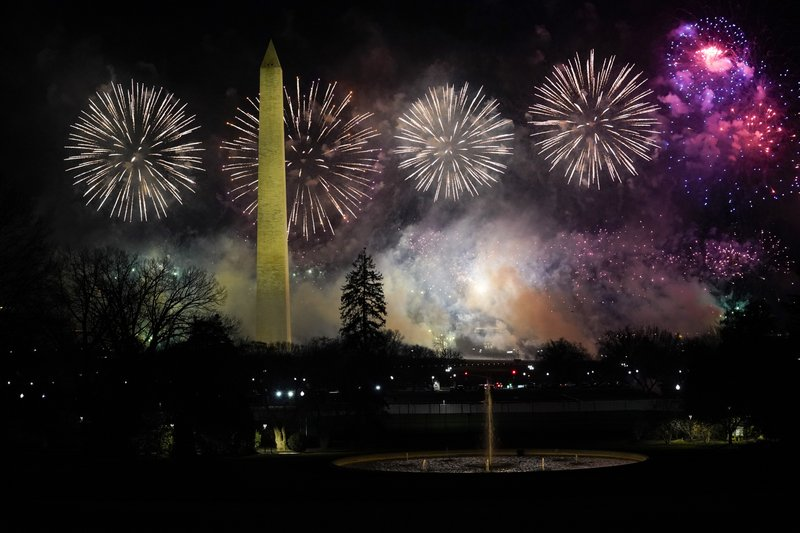 The fireworks display that happened at the end of the inauguration day celebration, happening while Katy Perry sung her hit song