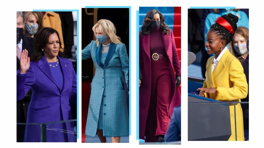 Kamala Harris, Jill Biden, Michelle Obama, and Amanda Gorman's stunning outfits. Photo courtesy of VanityFair.