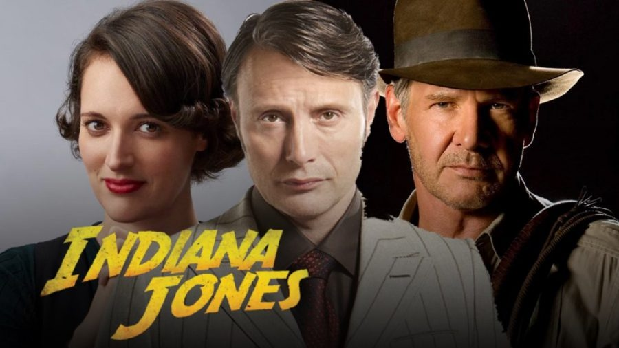 From left to right: Phoebe Waller-Bridge, Mads Mikkelsen, and Harrison Ford. Image courtesy of DisInsider.