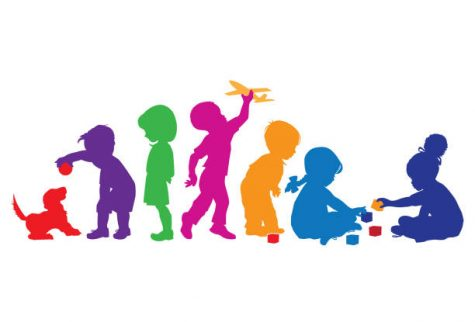 Silhouettes of young children at play.