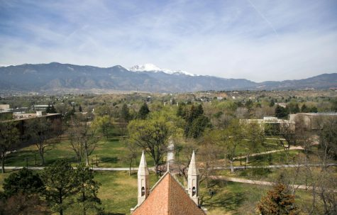 Image taken by Mark Lee at Colorado College in Colorado Springs, from the top of Shove Memorial Chapel, showing the Colorado College campus with Pikes Peak in the background.